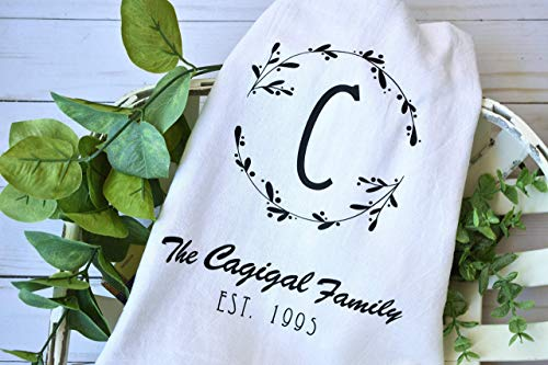 Personalized Single Monogram Soft and Absorbent Kitchen Tea Towel, Flour Sack Towel and Dish - Personalized Kitchen Towels