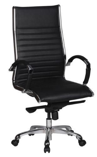 Amstyle Salzburg X-XL - Silla de Oficina (Piel, 120 kg, Altura Regulable, con reposabrazos, Acolchada, Respaldo bajo, funcion de balanceo), Color Negro