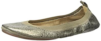 Yosi Samra Women's Samara Muted Metallic Leather Fold Up Flat Gold Flat 5 M