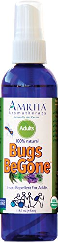 Amrita Bugs BeGone - Natural Insect Repellent Spray - Repels Mosquitoes, Fleas, Ticks & Chiggers - DEET Free - Made with Organic Essential oils - 4oz Aromatherapy