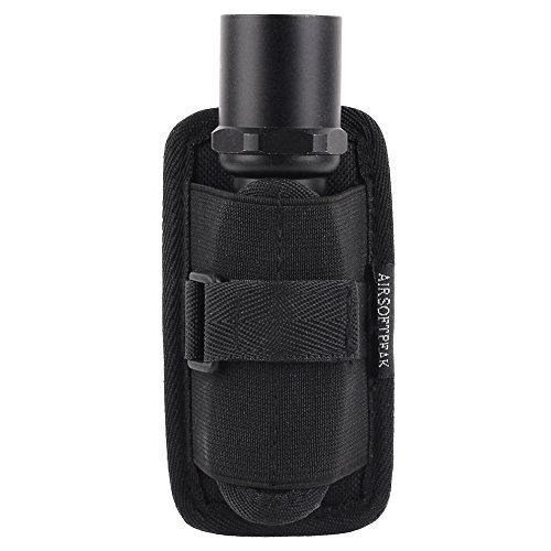 Flashlight Pouch - AIRSOFTPEAK Flashlight Pouch Holster Carry Case Holder with 360 Degrees Rotatable Belt Clip, Black