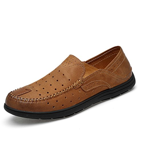 Hollwo los Slip Conducción Vamp Suela Penny de Casual Patch Loafers Hombres Brown Suave on Mocasines Barco Goma de aaw10qx