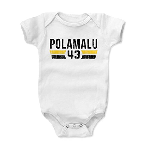 500 LEVEL Troy Polamalu Pittsburgh Steelers Baby Clothes, Onesie, Creeper, Bodysuit (3-6 Months, White) - Troy Polamalu Font K