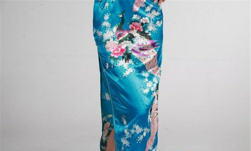 Jtc Women's Chinese Silk Peacock Long Cheongsam Dress (xx-large, blue) by Jtc (Image #5)