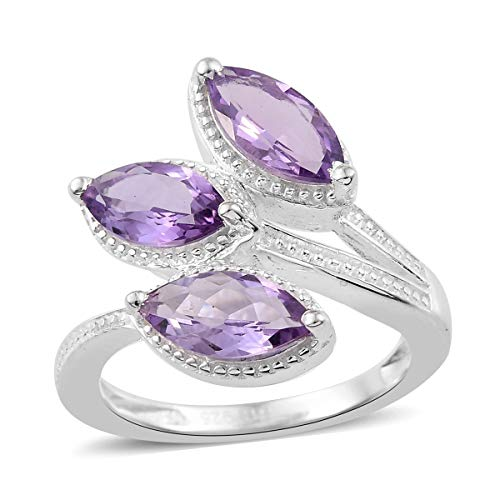 Bypass Trilogy Ring 925 Sterling Silver Marquee Amethyst Gift Jewelry for Women Size 10 Cttw 1.2