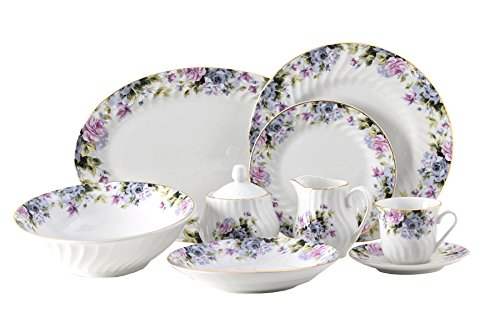 Millicent Dinner Set 45pc with Gold Trim; Vintage Floral