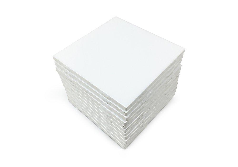 Matte White Ceramic Tiles 4.25'' x 4.25'' Set of 12