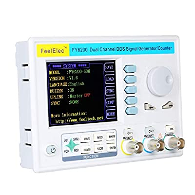 "KKmoon FY6200-60M 60MHz Function Signal Generator 3.2"" LCD Digital DDS Dual-channel Function/Arbitrary Waveform Generator Pulse Signal Source 250MSa/s Frequency Meter Function Source Generator"