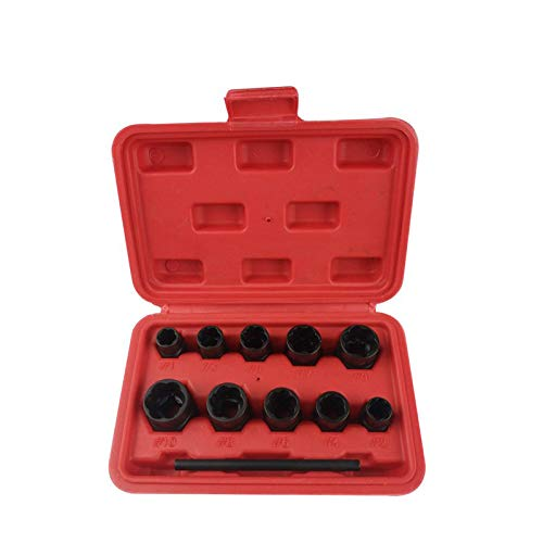 - SODIAL 11Pcs Nut Bolt Removers Set 9-19Mm Locking Wheel Bolt Nut Stud Extractor Twist Socket Set Threading Hand Tools Kit With Box