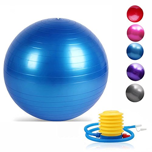 Yoga Exercise Ball with Quick Foot Pump Professional Grade Anti Burst & Slip Resistant Balance Ball (Blue 95)