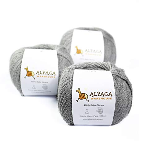 100% Baby Alpaca Yarn Wool Set of 3 Skeins Lace Weight (Soft ()