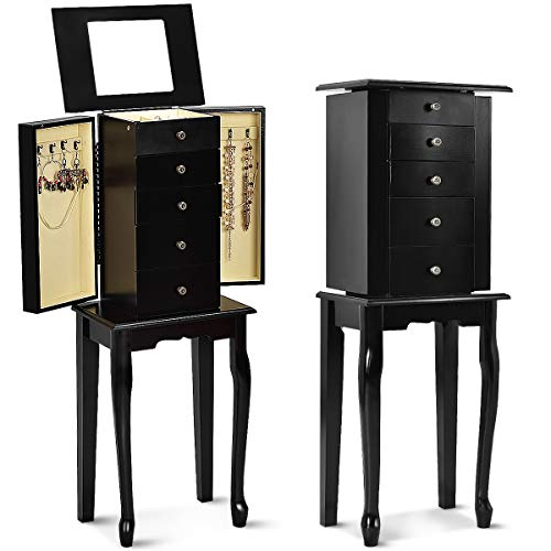 - Giantex Jewelry Cabinet Armoire Box Wood Storage Chest Necklace Stand Organizer(Black) ...
