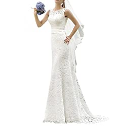 Miao Duo Full Lace Wedding Dresses For Bride Elegant Summer Beach Bridal Gowns Ivory