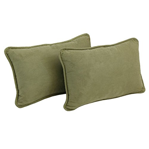 Blazing Needles Corded Solid Microsuede Rectangular Throw Pillows with Inserts (Set of 2), 20