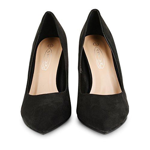 Tilly Shoes tacón stiletto Casual Smart trabajo de oficina Zapatos Bombas Tamaño Negro - negro