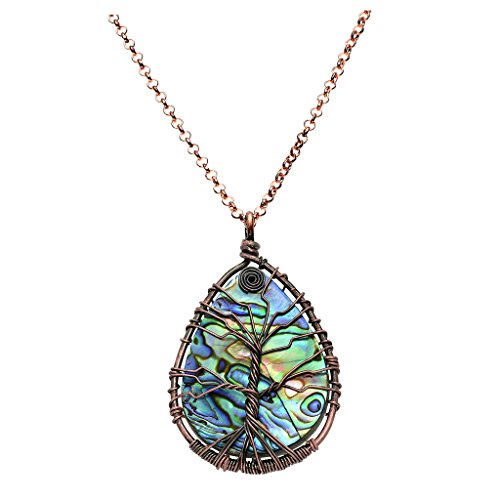 Top Plaza Wire Wrapped Tree of Life Natural Gemstone Teardrop Pendant Necklace Healing Crystal Chakra Jewelry for Women - Abalone Shell