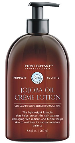 Jojoba Oil Crème lotion 9 fl oz - Organic, Moisturizing, Hydrating, Anti aging and Massage lotion - the best body lotion for men and women that works on your face, neck, hands, hairs and feet.