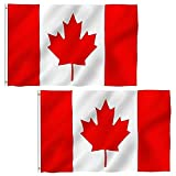 3X5 FT Canada Flag [2PCS], Outdoor Canadian Flags, Lightweight, 100% Polyester, Vivid Color and UV Fade Resistant-Canvas Header and Double Stitched - Printed Maple Leaf and Brass Grommets CA Flags