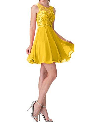 Cocktailkleider Abendkleider Kleider Chiffon La Hundkragen Kurzes Ballkleider Gelb Summer Braut Spitze Promkleider mia Mini ap7wqI7vn0