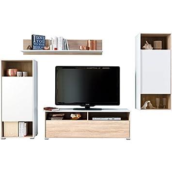 CS Schmal Wohnwand mit Standschrank, Wandboard, Hängeschrank und TV ...