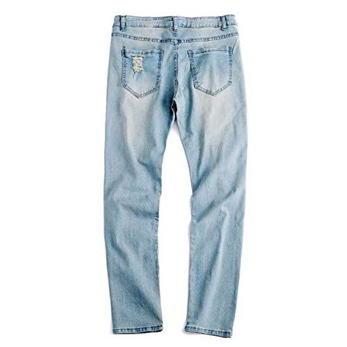 Gelb Jeans Strappati Fit Da Den Vintage Pantaloni Fori Slim Casual Uomo Con qAfnSw