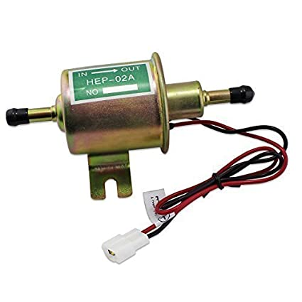 Aussel 12V Universal Heavy Duty Electric Fuel Pump Metal Low Pressure Bolt Fixing Wire Inline for Gasoline /& Diesel HEP-02A