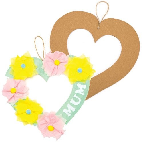 Baker Ross Heart Craft Wreaths for Boys and Girls' Arts, Crafts and Decorating for Kids (Pack of 10)