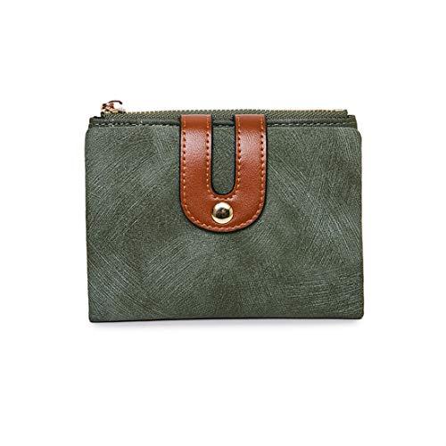 Women's Small Wallet Bifold Soft Leather Thin Short Wallets RFID Blocking Ladies Mini Purse with ID Window (Green)