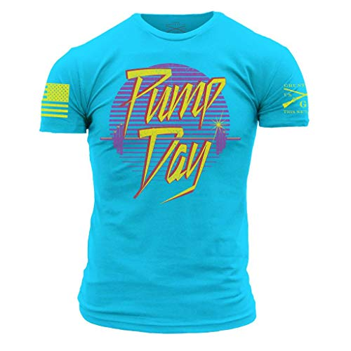 Grunt Style Pump Day Men's T-Shirt, Color Tahiti Blue, Size ()