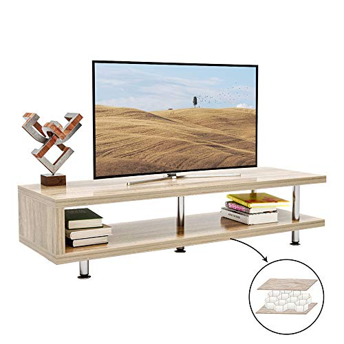 Bestier Short TV Stand with 2-Shelf Storage, 47inch Media Furniture Wood Storage Console with Steel Frame, Hollow Core Entertainment Center/Coffee Table/Sofa Table/Gaming Stand for Home Office Oak (With Storage Table Tv)