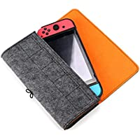Duttek Carrying Case for Nintendo Switch, Portable Travel Carrying Bag Carrying Case Ultra Slim Professional Protective Felt Pouch for Nintendo Switch 2017 with 5 Game Card position Holders