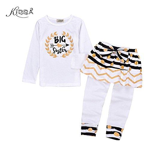 Kidsa 2-7T Little Girl Big Sister Long Sleeve T-shirt + Skirts Leggings Pants Outfits Set,Big Sister, 130 / 6-7T -