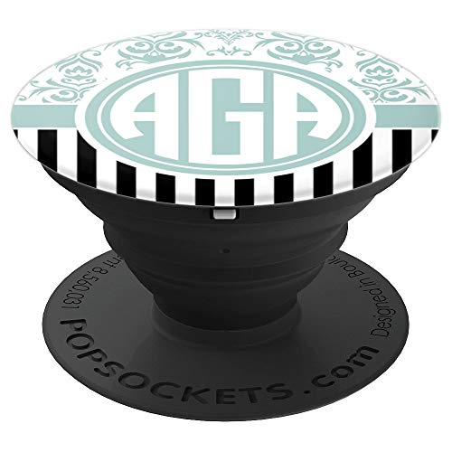 AGA Monogram Phone Grip Blue Damask Initials AGA or AAG - PopSockets Grip and Stand for Phones and Tablets