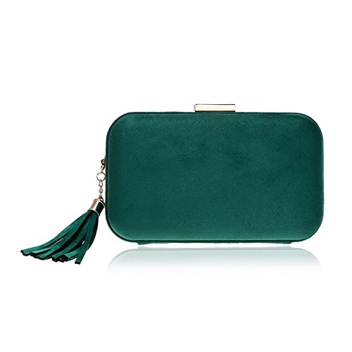 Banquet Evening Green Clutch Tassel Bag New GROSSARTIG Bag Fashion Dress Leather Evening Tq071Cw7