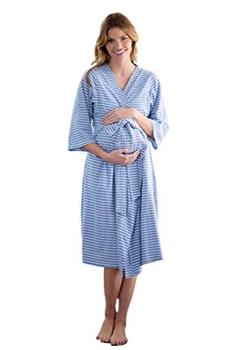 Baby Be Mine Maternity Labor Delivery Nursing Robe Hospital Bag Must Have (S/M pre Pregnancy 4-10, Zoe Stripe) (Baby Blue Gown Women)