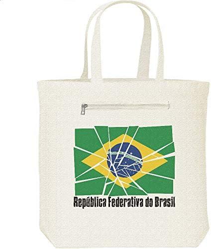 エムワイディエス(MYDS) ブロークン・ブラジル国旗/キャンバス トートバッグ・ファスナー ポケット付