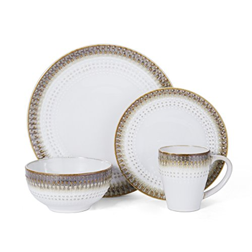 Pfaltzgraff Celina 16-Piece Stoneware Dinnerware Set, Service For 4 (Stoneware 16 Set Dinnerware Piece)