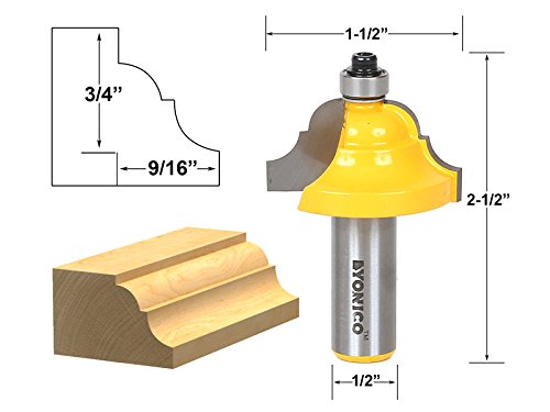 Yonico 13124 Double Roman Ogee Edging Router Bit Large 1/2-Inch Shank - Edge Router Bit