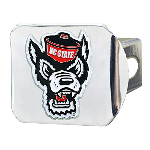 (FANMATS NCAA North Carolina State Wolfpack Color Hitch - Chromecolor Hitch - Chrome, Team Colors, One Sized )