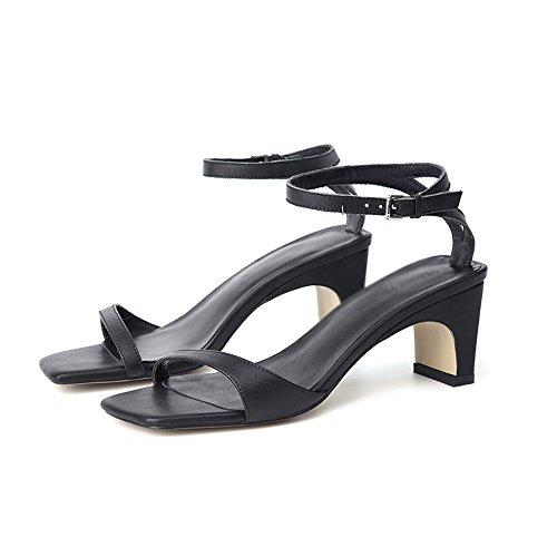 Thick con dimensioni Square Colore Slipper tacchi da scarpe 5 semplici Toe CAICOLOR Nero alti Summer With Verde CN37 5 fata Open UK4 EU37 0FpqY