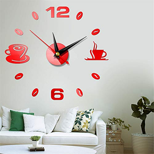 Fhing DIY 3D Roman Numbers Watch Wall Clock Home Mirror Wall Sticker Decoration -