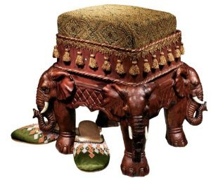 Persian Sultan Elephants Jacquard Sculptural Luxury Upholstered Footstool (Xoticbrands) by Artistic Solutions