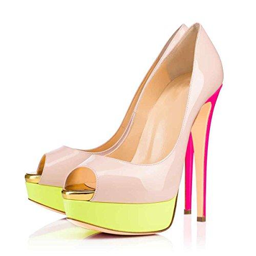 Arc-en-Ciel zapatos de plataforma de la mujer peep toe de tacón alto Nude Amarillo