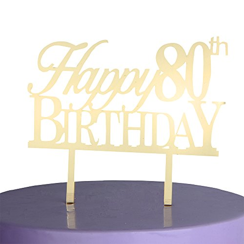 LOVELY BITON Gold Happy 80th Birthday Cake Topper Shining Numbers Letters for Wedding, Birthday, Anniversary, Party. (Happy Birthday Nice Cake)