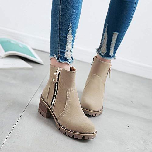 SHINIK Laterales de Mujeres Martin Estilo Botas de Las otoño de Ante Boots de College Botas Beige New 2018 de Cremallera pqwrp7