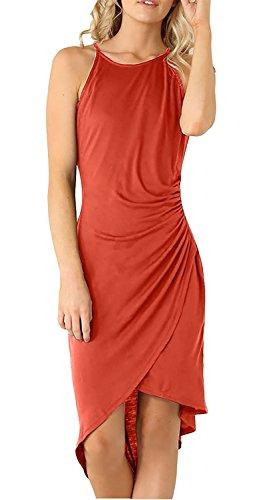 LNAUC Women's Casual Spaghetti Strap Summer Dress Party Sleeveless Dresses RustM - Wheelock Place