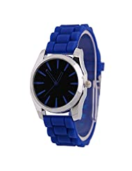 Coromose New Women Wrist Watch Silicone Rubber Jelly Gel Quartz Casual Sports ,BLUE Watch
