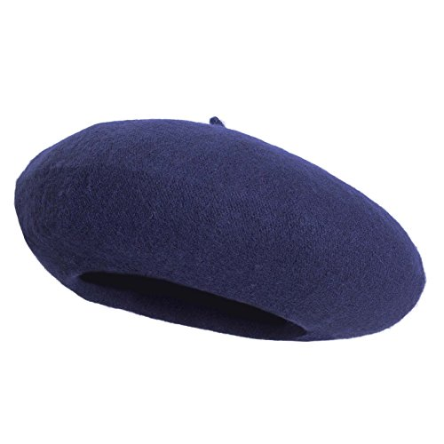 Women French Wool Beret Hats - Solid Color Classic Beanie Winter Cap (Navy - Blue Navy Beret