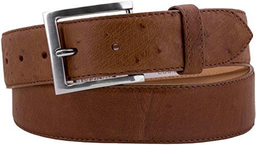- Cowboy Professional - Men's Cognac Real Ostrich Belly Skin Cowboy Belt Silver 40