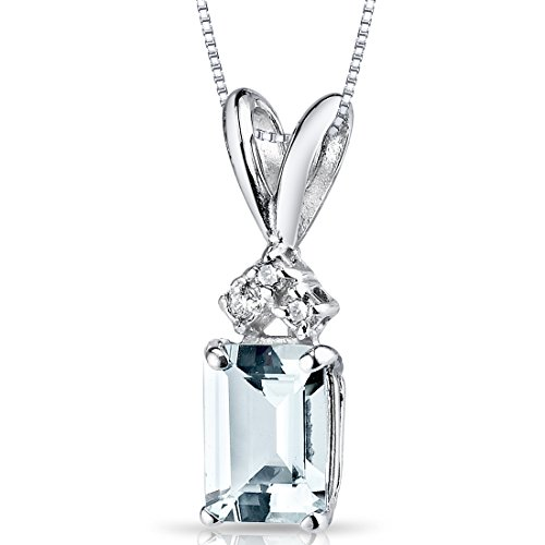 14 Karat White Gold Emerald Cut 1.00 Carats Aquamarine Diamond Pendant